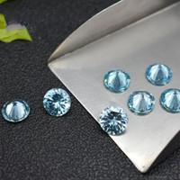 2.25-4.5 ملليمتر جولة الزبرجد الأزرق اكسيد الالمونيوم جيد قطع مختبر مكون فضفاض حجر 3a جودة عالية زركون للمجوهرات المنجد 1000 قطعة / الوحدة