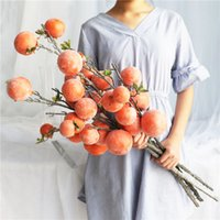 7 Branches Artificial Persimmon Fruit Artificial Berry Flowe...