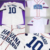 # 10 Del Prado Jersey Havana Cubans Button-Down 100% costurado Personalizado Retro Baseball Jersey Cuba Qualquer nome Número Branco Frete Grátis
