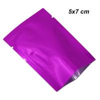 Viola 5x7cm Open Top mylar guarnizione termica sottovuoto Food Grade Sottovuoto Bag mylar vuoto di calore sigillabile bagagli Packaging Sacchetti