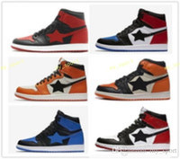 hot new 1 Royal High OG Banned Black Bred Red Basketball Sho...