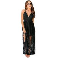 Frauen Blumenstrand tief V Spitze-Perspektive langer Rocksommer Strandkleid sexy Ärmel beiläufiges lange kurzes Backless Liner Kleid