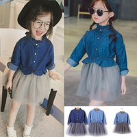 Baby clothing girls ruffle long sleeves Denim mesh patchwork...