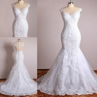 Plus Size Elegant Mermaid Wedding Dresses Lace Appliques Vin...