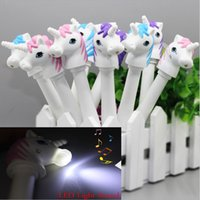 New Cute Unicorn Pen Mini Unicorn FigureTorch Penne a sfera con LED Light Sound Novità regalo per bambini Drop Shipping