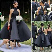 Neue Ankunft Sexy Ballkleid Rüschen Brautjungfer Brautkleider High Neck Sleeveless Big Bow Prom Cocktail Kleid Party Kleid Tee Länge