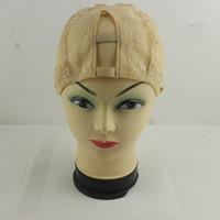 Freeshipping-Middle U partie Glueless pleine dentelle tissage perruque base casquette filet maille à l'intérieur de la perruque faire extension de cheveux trame Medium
