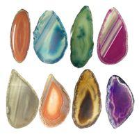 10pcs agate tranche geode cristal polie dalle cadeau brésil druzy ornement maison décoration nature coloré perle alagate quartz couleur alage couleur alage