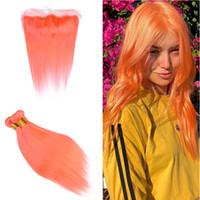 Extensões de trama do cabelo da cor alaranjada com frontal 13x4 Brasil Sun Orange Color Ear To Ear Frontal com 9A em linha reta 3Blugles Tece