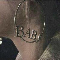 OPPOHERE Baby Letters Big Circle Orecchini a goccia in oro o argento Bling a cerchio
