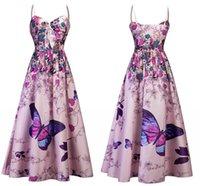 2018 Grand Papillon Imprimer Boho Femmes Robe Floral Print Summer Party Dress Court Respirant Casual Dress Années 1950 Rétro FS4074