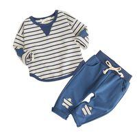 ربيع الخريف ملابس الطفل الأولاد مجموعات ملابس الطفل ملابس الأولاد شريط قميص + سروال ملابس الرضع