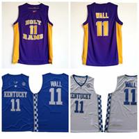 남성 존 벽 # 11 거룩한 숫양 고등학교 농구 유니폼 저렴한 요한 존 벽 켄터키 와일드 캣 대학 스티치 농구 셔츠