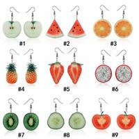 Корейский симпатичные фрукты серьги индивидуальность клубника ананас арбуз яблоко оранжевый Pitaya форма мотаться уха кольцо для женщин ювелирные изделия