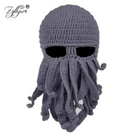 de51ad67371 Zgllywr Winter Face Mask Octopus Wool Hand Woven Mask Balaclavas Funny Hat  Knit Hat for Snow Windproof Warm Knitted Beanie