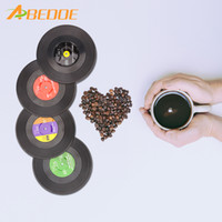 4 Pcs Retro Style Cup mat Coaster Music Bar CD Record Cups D...