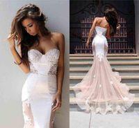 Chiffon Lace Cut Out Branco E Nua Lindo Vestido de Noite vestidos de coca cola sirena abendkleider lange eveningdress
