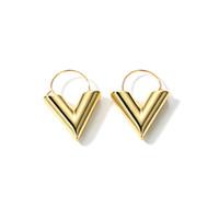 بيع كامل LWONG 2018 أزياء لون الذهب V أقراط الأولية للنساء الأقراط هندسية الخامس هوب الحد الأدنى مجوهرات بسيطة كل يوم