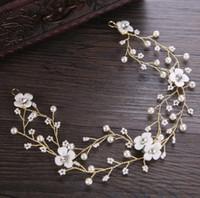 Nueva cerámica flor de adorno para el pelo blanco perla con la cabeza de Europa y América sombreros corona de adorno de sombreros de novia