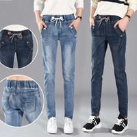 Jeans Mujer con cordones Hoys Jeans Mujeres Harem Pantalones Estirar Jeans Femme Pantalones largos Denim Pantalones Mujeres C4532