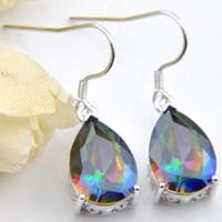 6 Pairs Luckyshine Superb Tropfen Shiny Rainbow Mystic Topaz Edelsteine 925 Sterling Silber Überzogene Ohrringe Russland Kanada Ohrringe Schmuck Neu