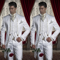 Embroidery Groom Tuxedos Men' s Suits White Groomsman On...