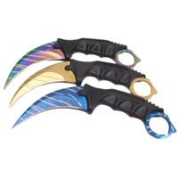 CSGO Karambit Pençe Bıçak Sabit Bıçak Bıçak EDC Cep Bıçaklar 440C ABS Kılıf Ile Blade Kolye