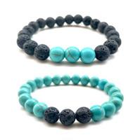 Hot Lava Rock Perles Bracelets 8 mm charme en pierre naturelle Mode Bijoux Altération Pierre Manchettes Bangles 2 Styles Turquoise Bracelet