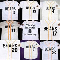 나쁜 소식 베어스 영화 저지 버튼 아래로 화이트 100 % 스티치 사용자 정의 야구 유니폼 모든 이름 번호 무료 배송 도매