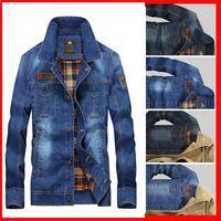 M-4XL Giacca uomo e cappotti Abbigliamento Hot Abbigliamento Denim Giacca Fashion Mens Jeans Jacket Thick Warm Winter Outwear maschile Cowboy YF055