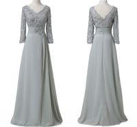 Sexy Sliver Lace Mutter der Braut Bräutigam Kleider mit langen Ärmeln Pailletten V-Ausschnitt Chiffon Plus Größe Formale Abendgesellschaft Kleider G192