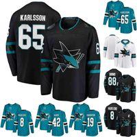 2019 Novo 65 Erik Karlsson 88 Brent Burns Jersey 39 Logan Couture San Jose Sharks 8 Joe Pavelski 19 Joe Thornton 9 Evador Kane Hóquei Jersey