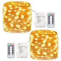 2 Luces de hadas 8 modos Luces de cuerdas Luces de batería 60 LED Luces de hadas de hadas 20 pies Cable de cobre Luz de luciérnaga