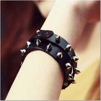 hiphop picos de punk rock rebites pulseira de couro pulseira para mulheres dos homens preto rebites de couro pulseira jóias da moda