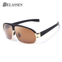 c23d7c077178a DELASSES Designer de Marca Oversized Polarized Óculos De Sol Dos Homens Quadrados  Esportes Do Vintage Óculos