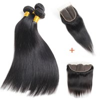 100% Unprocessed 10A Straight Human Hair Bundles with 4x4 Cl...