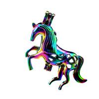 10 قطعة / الوحدة rainbow اللون الكبير الحصان حبات اللؤلؤ قفص المنجد قلادة الناشر الروائح العطور الزيوت الأساسية الناشر العائمة بوم