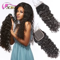 xblhair Water Wave 3 Bundles with Closure 4by4 top lace clos...