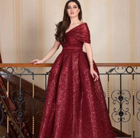2018 Dark Red Sparkly Sequined Prom Dresses V- Neck Off Shoul...
