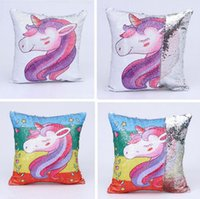 Unicorn Sequin Pillow Case Mermaid Cushion Cover Reversiable...