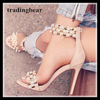 New rivets pearls ankle strap sexy high heels women party pr...