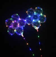 LED Pflaumenblütenballon 18 Zoll Blinkende Bobo Ball Leuchten Ballons mit Griff Stick Hochzeit Geburtstag Party Dekoration OOA5440
