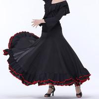2018 Yeni gelmesi Kadın Lady Siyah Performans Yarışması Standart Balo Salonu Dans Etekler waltz tango büyük salıncak etek