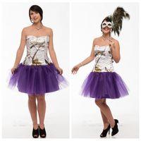 Sweetheart White Snowfall Real Tree Camo Vestido de fiesta Camisa de tul corta Personalizada Formal Ocasiones especiales Vestidos de fiesta Camuflaje barato