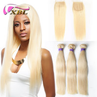 XBLHair Brazilian Hair Weave Bundles 3 PCS 613 Blonde Bundle...