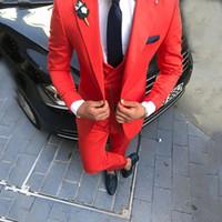 Marca New Prom veste o vermelho Homens Hot Suit Ternos de casamento repicado lapela do noivo Smoking Slim Fit Groomsmen Blazer 3 Pants Pedaço Jacket Vest