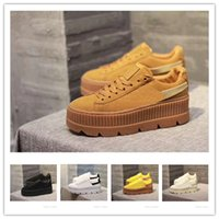 2018 Fashion Rihanna Shoes Suede Cleated Creeper Womens Blac...