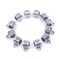 12 teile / los Europa Großes loch perlen Tibetischen silber bail perlen metall spacer perlen für schmuck machen lieferungen metall finden großhandel