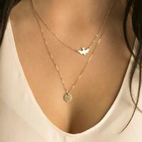 Оптовая продажа-NK123 панк многослойные ожерелья Для женщин мира голубь птицы ошейники минималистский ювелирные изделия круг лакомство кулон ожерелье подарок