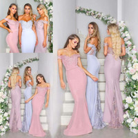 New Arrival Off Shoulder Mermaid Bridesmaid Dresses Lace But...